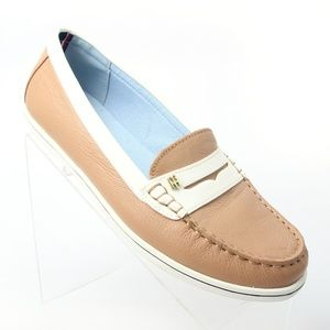 Tommy Hilfiger Brown Slip On Penny Loafers Flats